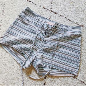 Linen Striped Shorts, Tie Up Shorts, Casual Shorts